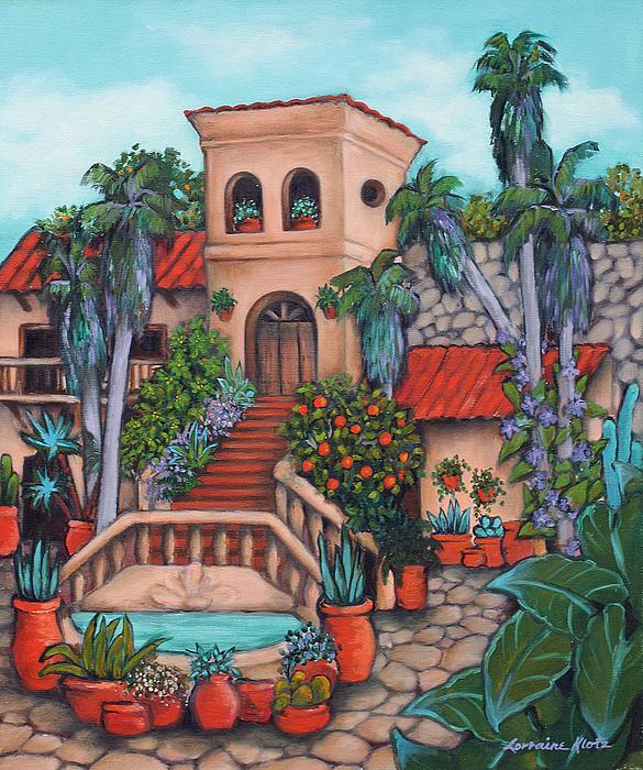 Palm Trees Painting - Plaza Jardin by Lorraine Klotz