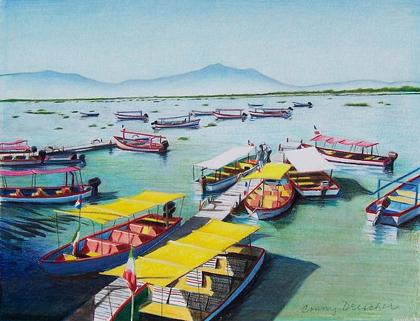 Lake Mixed Media - Pleasure Boats On Lake Chapala by Constance Drescher