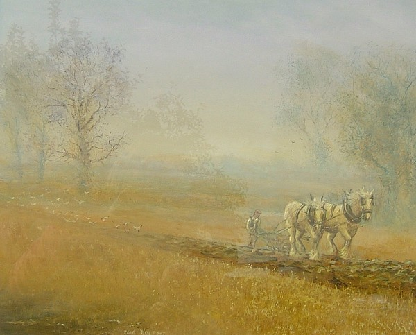 Horse Painting - Ploughman by Ken Boot