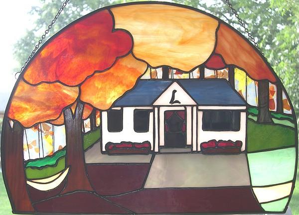 Cabin Glass Art - Pocono Memories by Liz Lowder