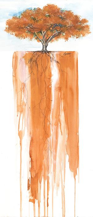 African American Artist Mixed Media - Poinciana Tree Orange by Anthony Burks Sr
