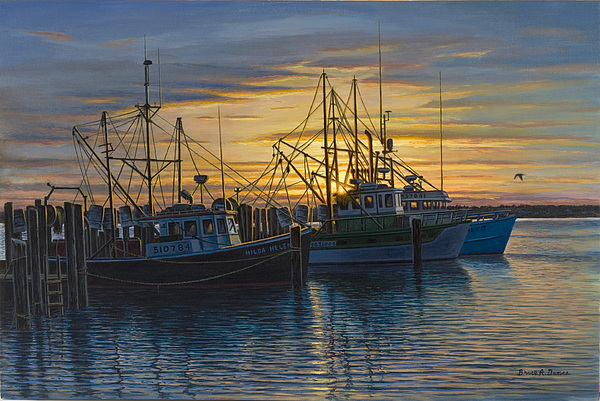 Boat Painting - Point Judith Sunset by Bruce Dumas