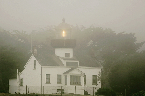 Point Pinos Lighthouse Photograph - Point Pinos Lighthouse In A Foggy Night - Pacific Grove Monterey Central Ca by Christine Till