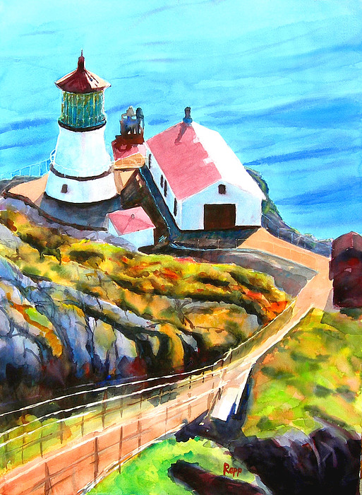 Lighthouse Painting - Point Reyes by Jan Rapp