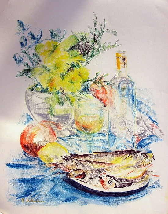 Still Life Drawing - Poissons by Muriel Dolemieux