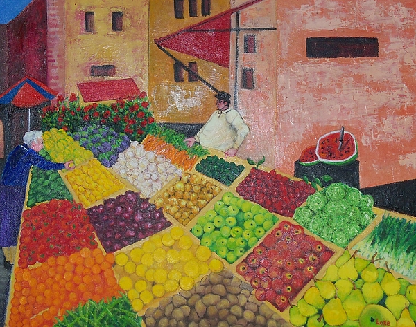 Shopping Center Painting - Polermo Street Market by Lore Rossi