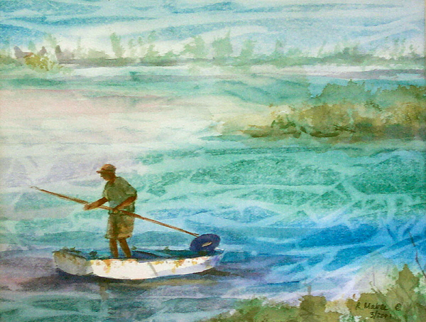 Seascape Painting - Poling The Flats by Ruth Mabee