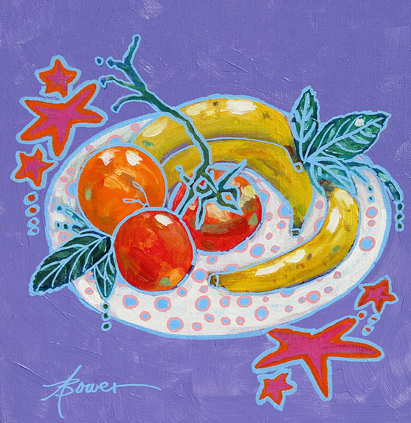 Fruit Painting - Polka-dot Plate  by Adele Bower