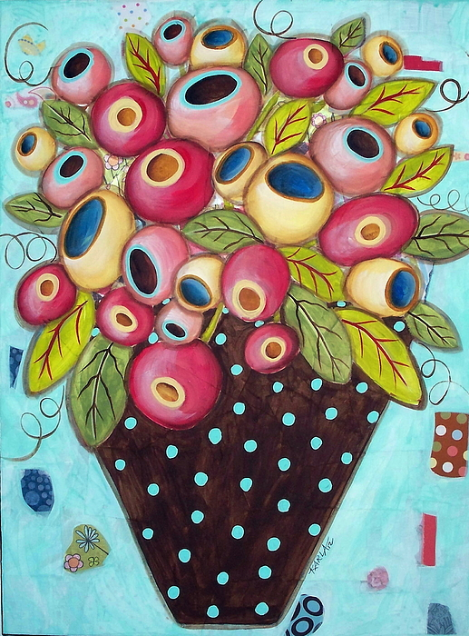 Mixed Media Flower Vase Mixed Media - Polka Dot Pot by Karla Gerard