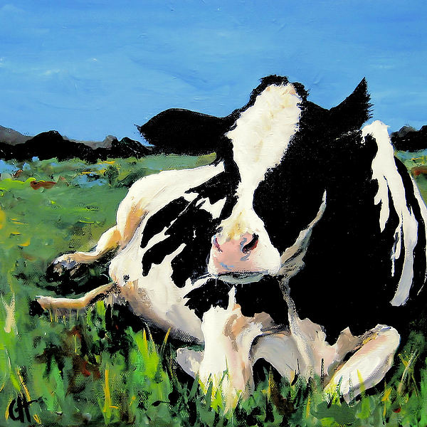 Cow Painting - Polly The Cow by Cari Humphry