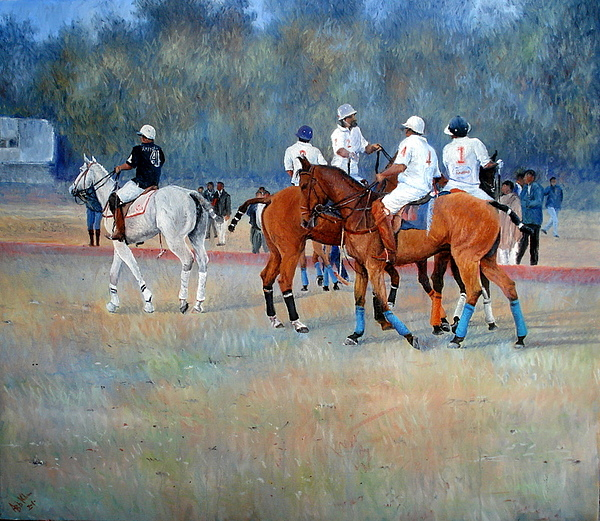 Polo Horses Painting Painting by Abid Khan