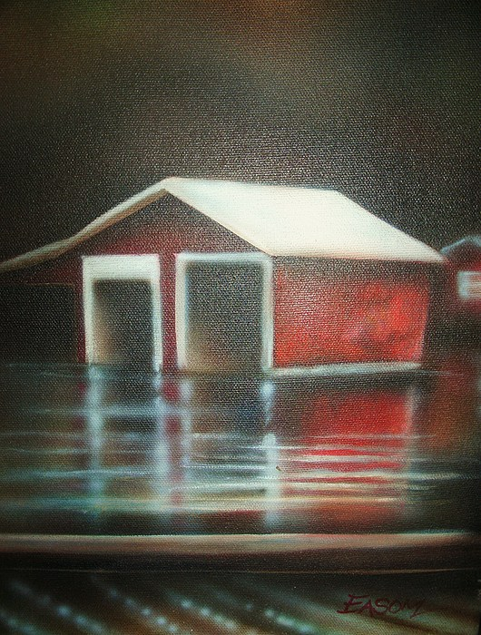 Red Painting - Pond House by Scott Easom