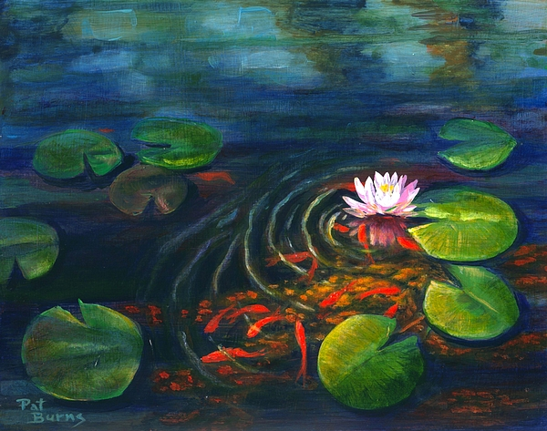 Waterscape Painting - Pond Jewels by Pat Burns