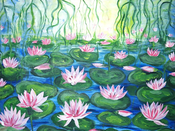 Water Painting - Pond Of Searoses by Hannelore Amon