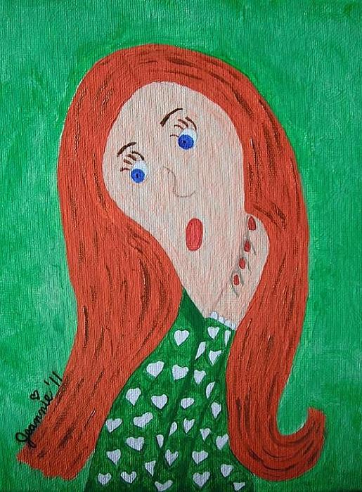 Pondering Painting - Pondering Redhead by Jeannie Atwater Jordan Allen