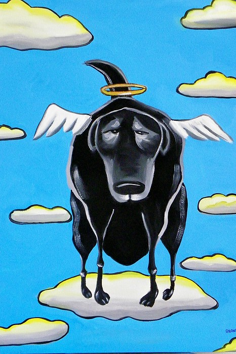 Dogs Painting - Poo Dog Goes To Heaven by Rhondda Saunders
