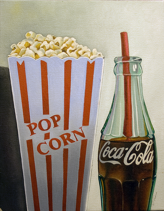 Coke Painting - Popcorn And Coke by Vic Vicini