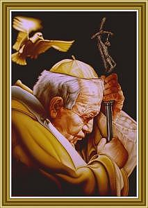 Pope John Paul Painting - Pope John Paul II-the Holy Spirit-michelangelo by Devon  Crutcher