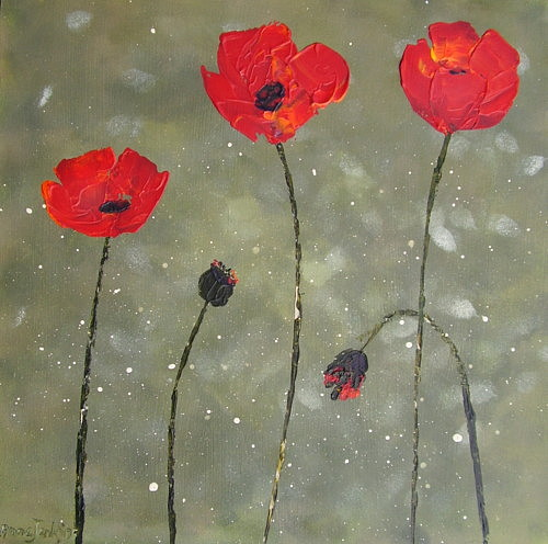 Poppies Painting - Poppies by Anne Jenkins