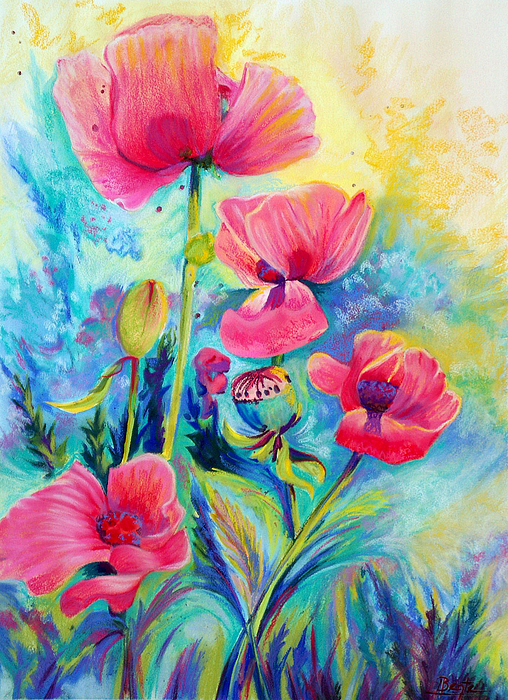 Floral Painting - Poppies by Bente Hansen