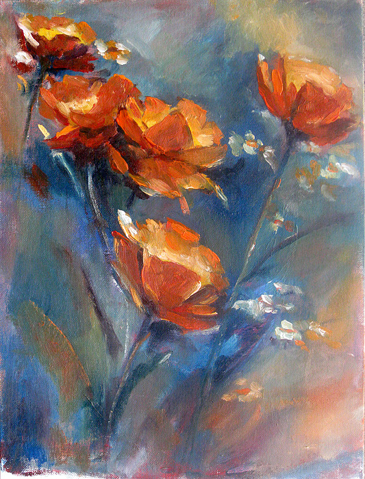Poppies Painting by Bin Feng
