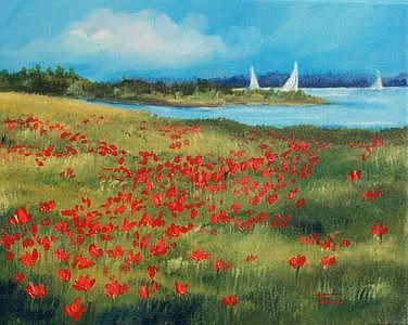 Poppies By The Sea-sold Painting by Torrie Smiley