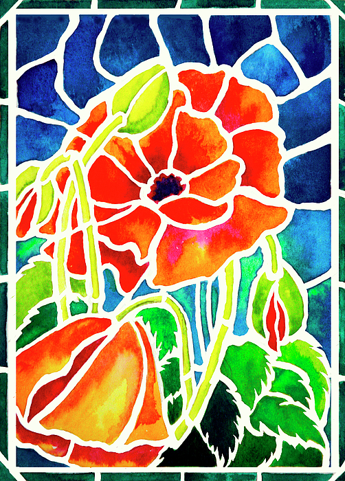 Poppies Painting - Poppies In Stained Glass by Janis Grau