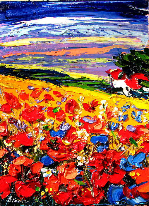 Artwork Painting - Poppies In The Spring Time.  by Maya Green