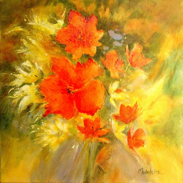 Canvas Prints Painting - Poppy Bouquet  by Madeleine Holzberg