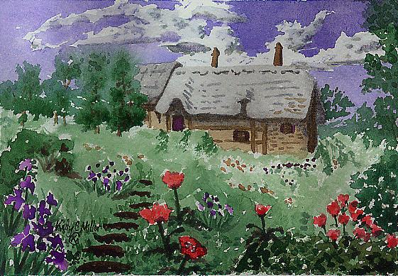 Poppy Painting - Poppy Cottage by Kelly Miller
