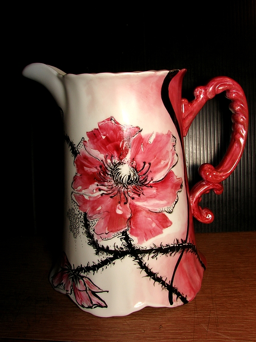 Poppy Ceramic Art - Poppy Water Pitcher by Verna Jean Dawson