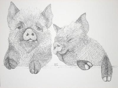 Print Drawing - Pork Avenue by Joanie Arvin