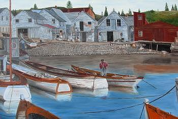 Boats Painting - Port D Attache  N E  by Jean-pierre Loiselle