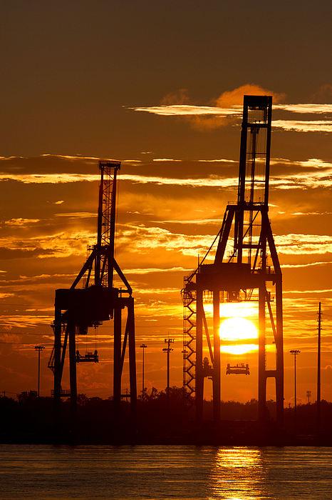 Port Cranes Photograph - Port Of Charleston Sunset II  by Dustin K Ryan