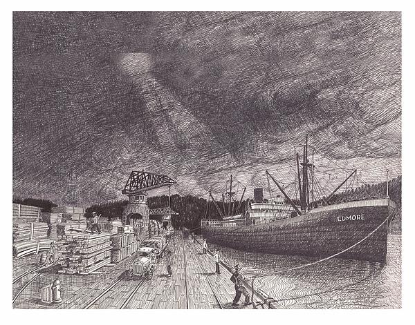 Port Of Tacoma Drawing - Port Of Tacoma Wa Waterfront by Jack Pumphrey
