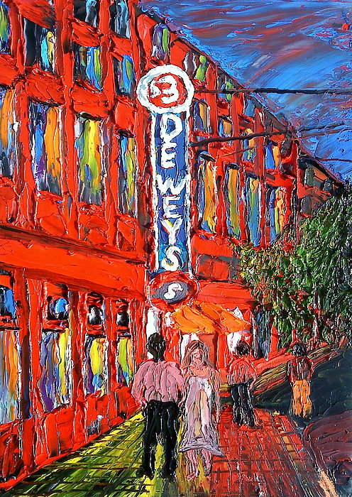 Portland City Lights Over Deweys Pub Painting by Dunbars Modern Art