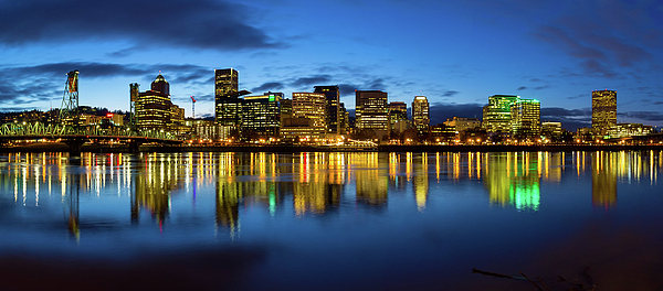 Portland Photograph - Portland City Skyline Blue Hour Panorama by David Gn