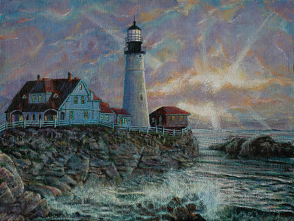 Light Painting - Portland Head Lighthouse by LeRoy Jesfield