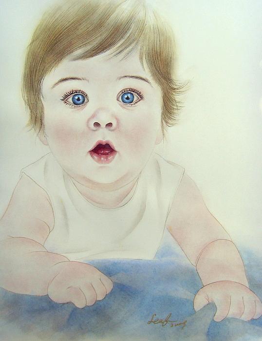 Watercolor Portrait Painting - Portrait Baby by Leaf Moore