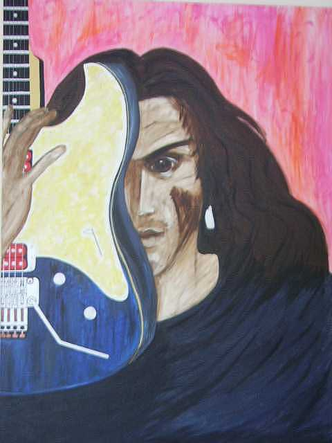 Evil Painting - Portrait Of A Musician by Lauran Childs