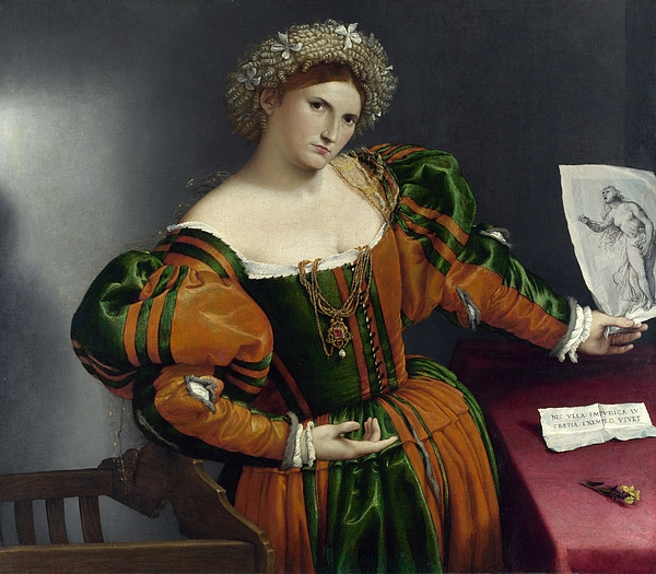 Lorenzo Lotto Painting - Portrait Of A Woman Inspired By Lucretia by Lorenzo Lotto