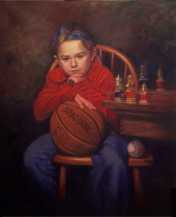 Child Painting - Portrait Of Ben by Pat Aube Gray