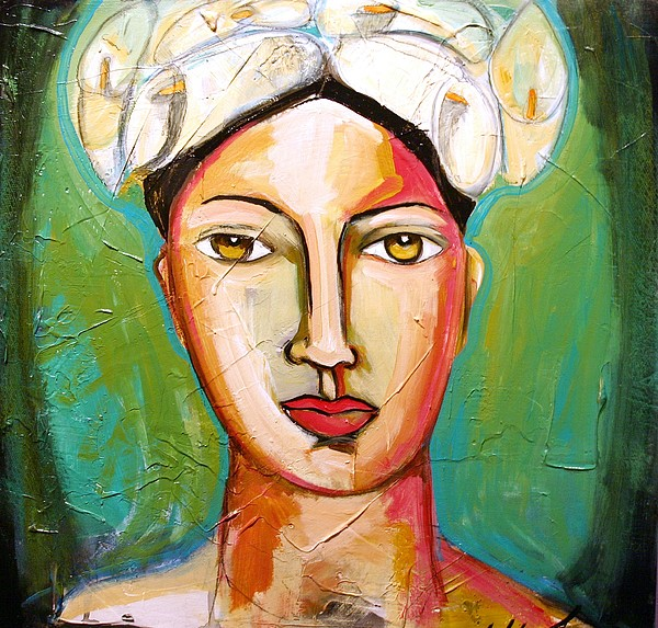 Figurative Painting - Portrait With Calla Hat by Yolanda Gonzalez