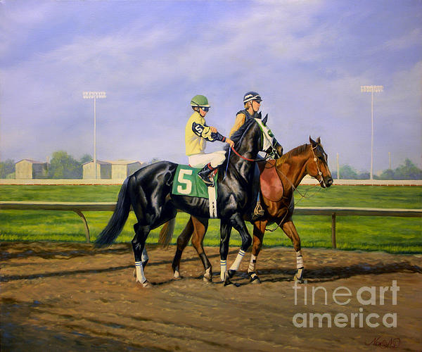 Horse Painting - Post Parade by Jeanne Newton Schoborg