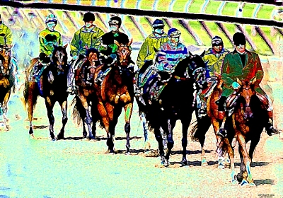Horse Racing Digital Art - Post Time by Gary Rogers