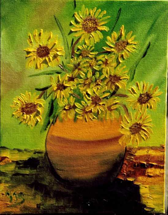 Pot Of Sun Flowers  Painting by Paul james  Schumann