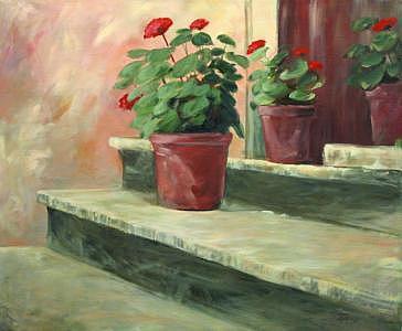 Flowers Painting - Potted Geraniums by Linda Eades Blackburn