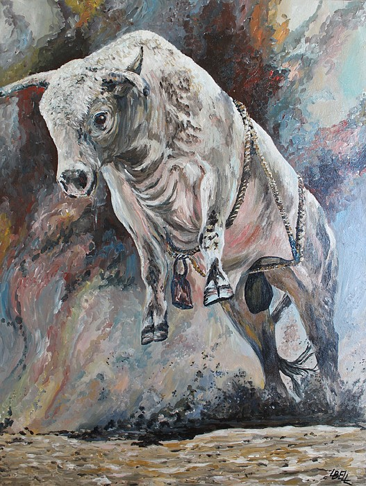 Bull Painting - Power Of The Bull by Leonie Bell
