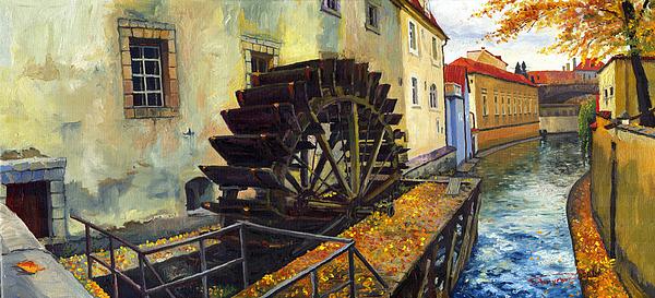 Prague Painting - Prague Chertovka by Yuriy  Shevchuk
