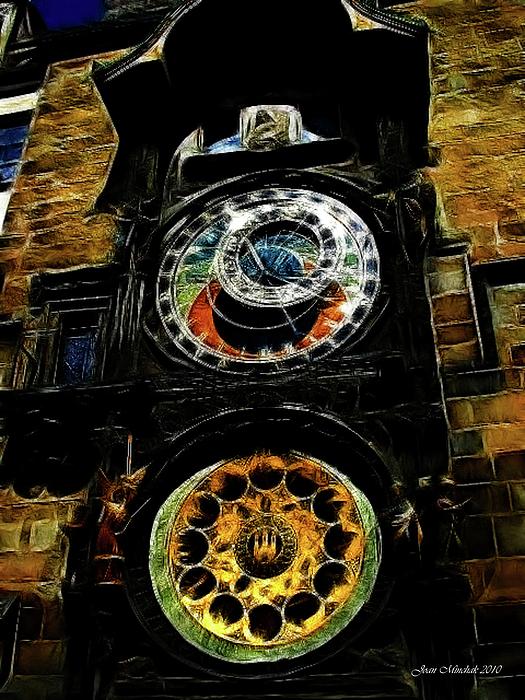 Prague Digital Art - Prague Clock by Joan  Minchak